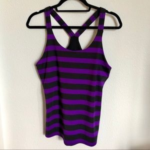 ATHLETA Striped Racer Back Work Out Tank Top